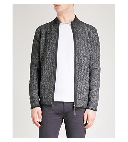 TED BAKER Kulfi textured knitted jacket (Charcoal