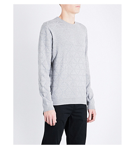 TED BAKER Matcha patterned-knit jumper (Grey+marl