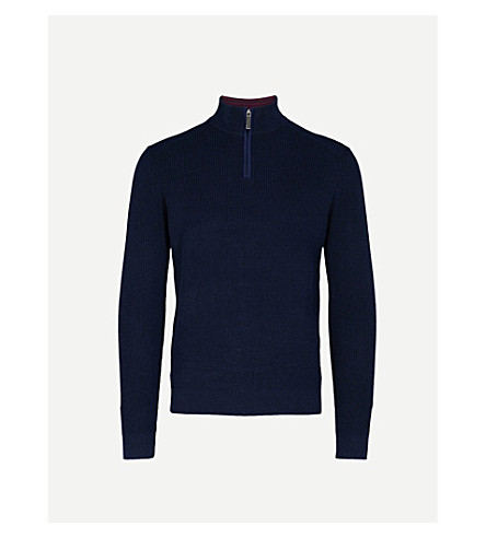 TED BAKER Funnel neck knitted jumper (Navy