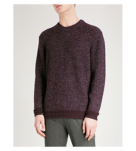 TED BAKER Teabery striped-trims knitted jumper (Deep+purple