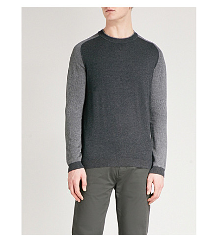 TED BAKER Contrasting-sleeves knitted jumper (Charcoal