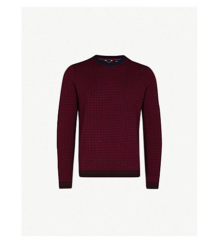 TED BAKER Parvine 方格图案羊毛混纺毛衣 (暗 + 红色