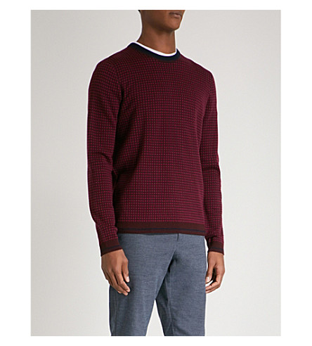 TED BAKER Parvine grid-pattern wool-blend jumper (Dark+red
