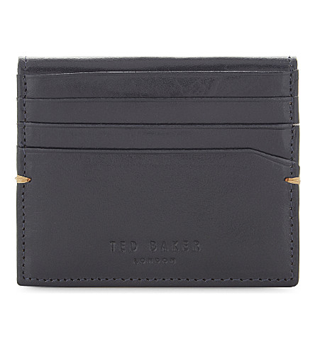 TED BAKER Brights fold-over leather card holder (Blue