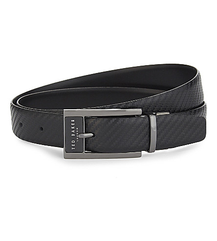 TED BAKER Hibisis reversible leather belt (Black