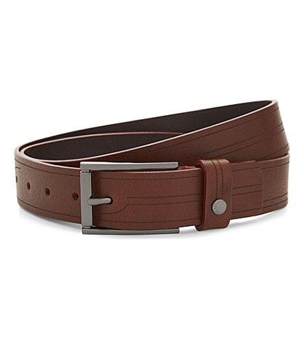 TED BAKER Etched leather belt (Tan