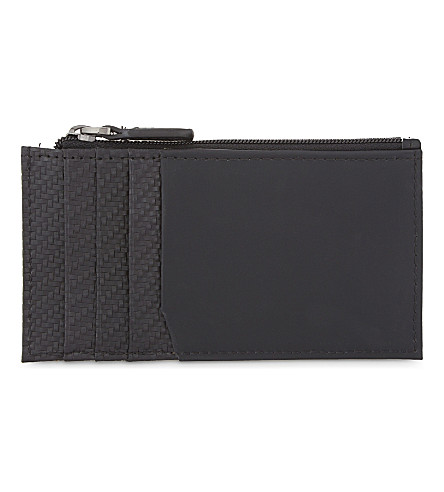 TED BAKER Ovacard carbon fibre-effect card holder (Black