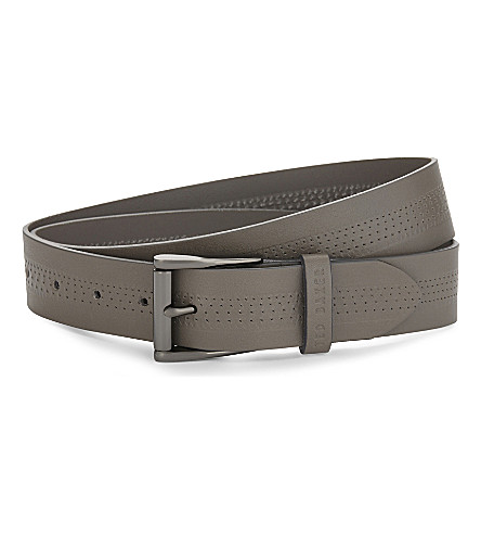 TED BAKER Brambel textured leather belt (Grey