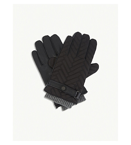 TED BAKER Afro quilted gloves (Black