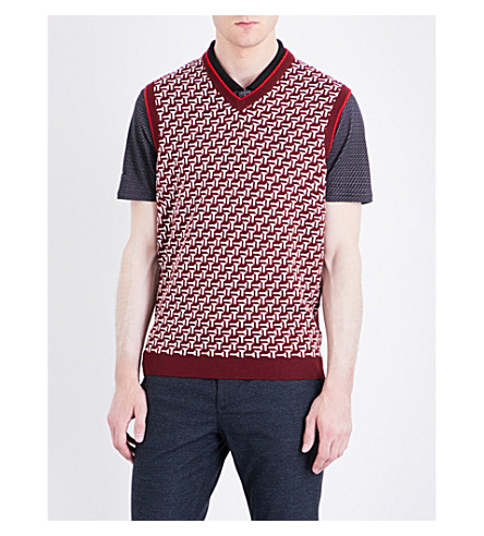 TED BAKER Tommas patterned wool tank top (Dark+red
