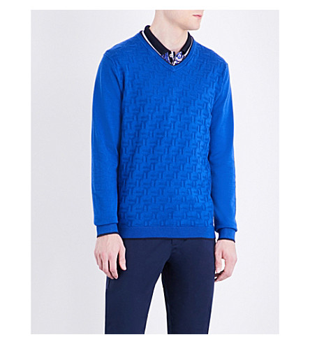 TED BAKER Armstro stretch-cotton sweater (Blue