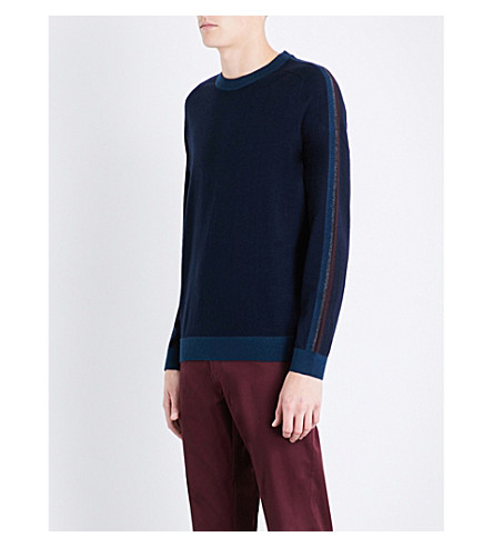 TED BAKER Politan colour block wool-blend jumper (Navy