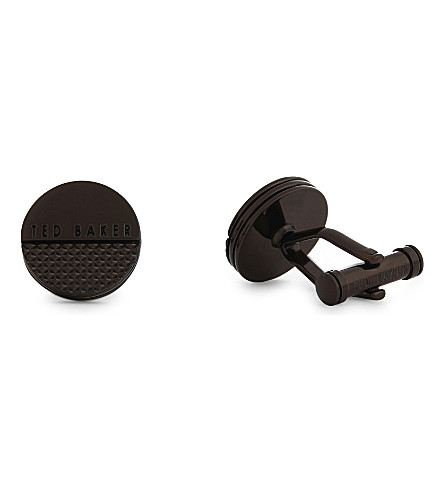 TED BAKER Fizzer knurling textured cufflinks (Chocolate