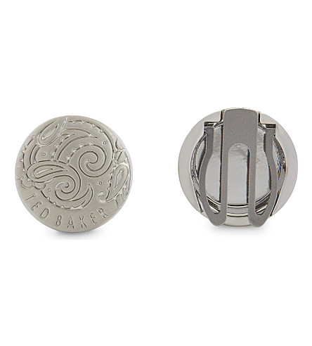 TED BAKER Quazer paisley button covers (Silver+colou