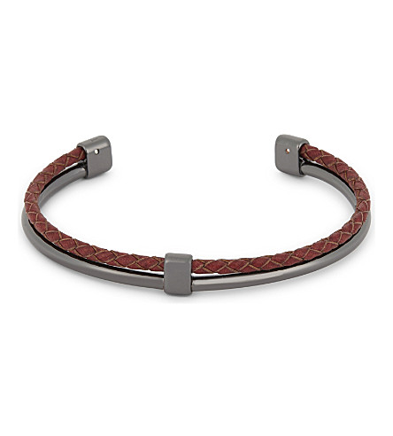 TED BAKER Ferrero leather and metal cuff bracelet (Gunmetal