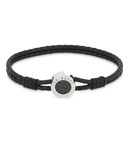 TED BAKER Carbon fibre leather bracelet (Black