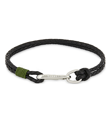 TED BAKER Twirl double-strand braided leather bracelet (Green