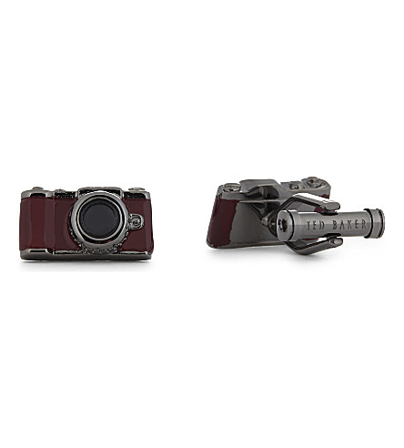 TED BAKER Zoomer camera cufflinks (Red