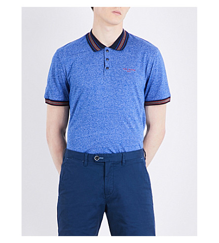 TED BAKER Fore marl cotton-blend polo shirt (Bright+blue