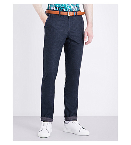 TED BAKER Ondaway water-resistant regular-fit tapered jersey pants (Navy