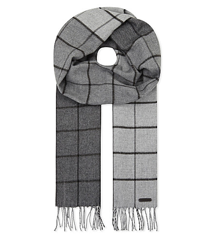 TED BAKER Hemlock ombre checked scarf (Grey marl