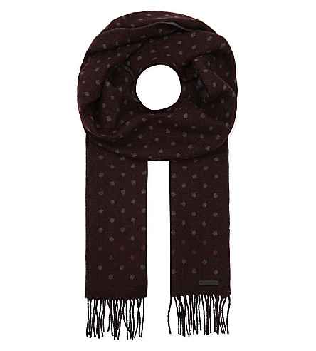 TED BAKER Redpine spotted scarf (Dark+red