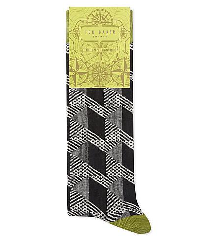 TED BAKER Geo pattern organic cotton-blend socks (Black