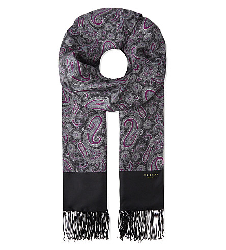 TED BAKER Paisley print silk scarf (Black