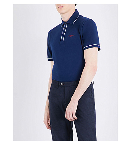 TED BAKER Playgo tipped cotton-blend polo shirt Navy Store Sale Shop Cheap Price The Cheapest Cheap Online Low Cost For Sale 82qGDFwnR9