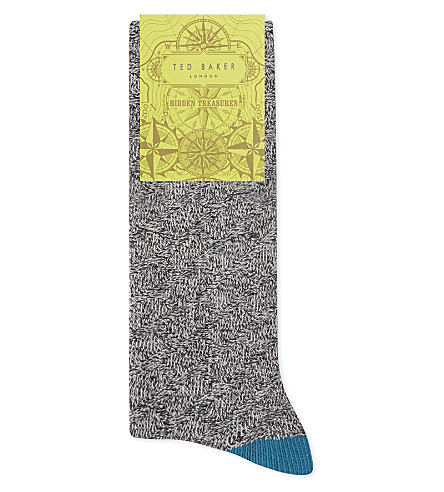 TED BAKER Textured organic cotton-blend socks (Charcoal