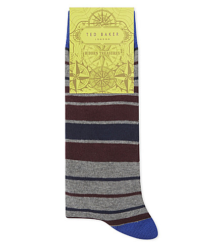 TED BAKER Striped organic cotton-blend socks (Grey+marl