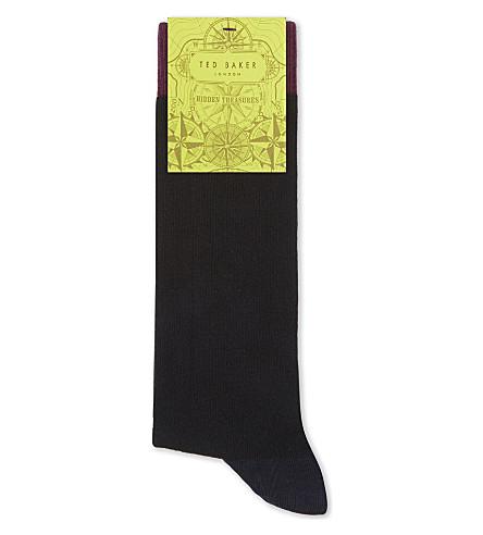 TED BAKER 色块有机棉混纺袜 (黑色