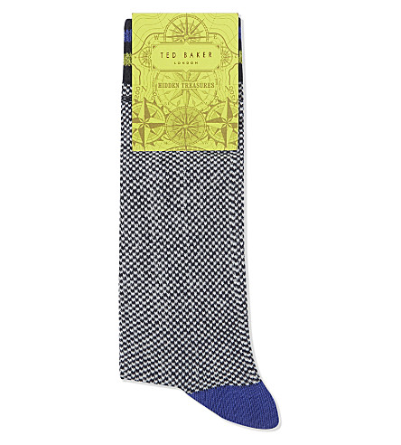TED BAKER Moye check print cotton-blend socks (Navy