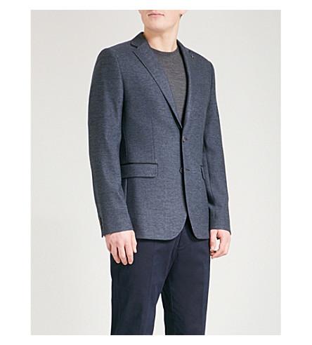 TED BAKER 纹理羊毛混纺西装外套 (蓝色