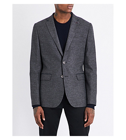 TED BAKER Textured wool-blend blazer (Charcoal