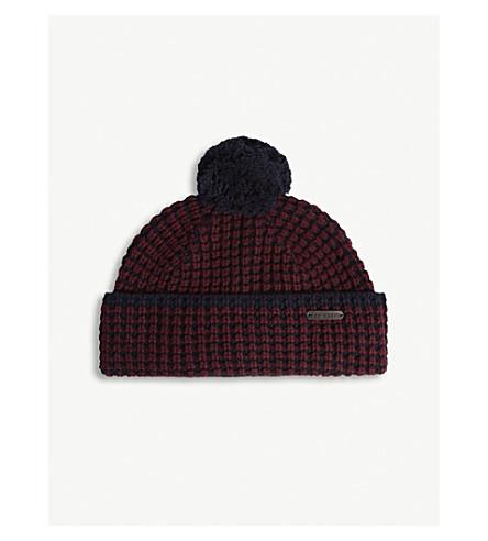 TED BAKER WALHAT 美利奴羊毛羊绒混纺针织帽 (黑 + 红