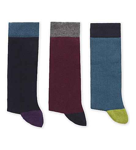TED BAKER Alpton cotton-blend socks 3-pack (Navy
