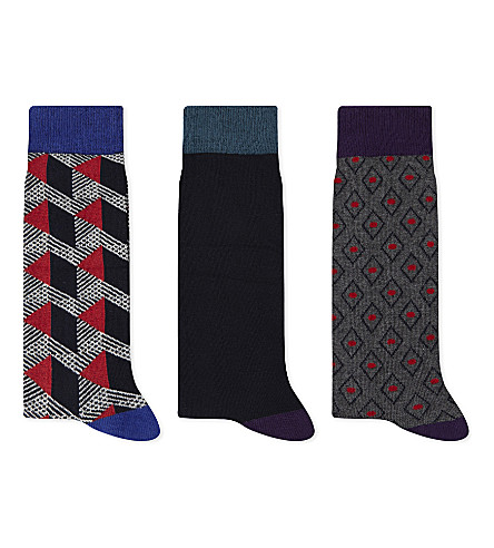 TED BAKER Archway cotton-blend socks 3-pack (Navy