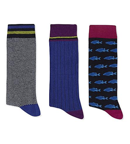 TED BAKER Bethnal cotton-blend socks 3-pack (Navy