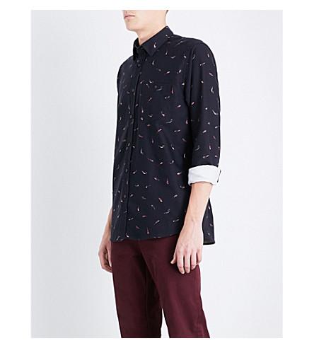 TED BAKER Fish-print regular-fit cotton shirt (Navy