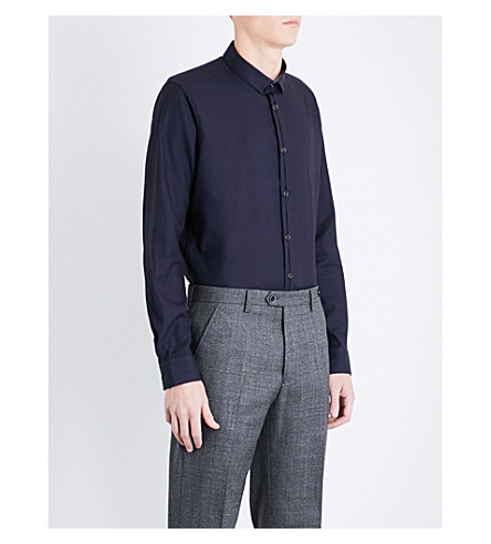 TED BAKER Textured regular-fit stretch-cotton shirt (Navy