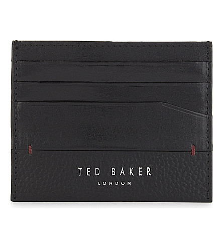 TED BAKER Slippry leather card holder (Black