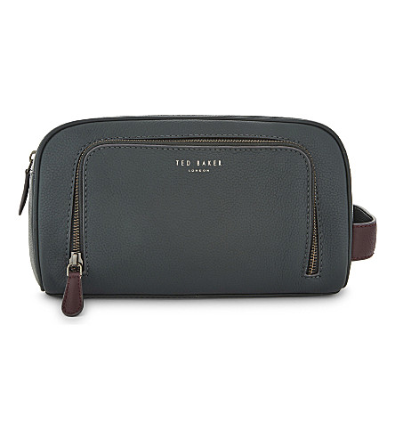 TED BAKER Moofasa grained leather wash bag (Dark+green
