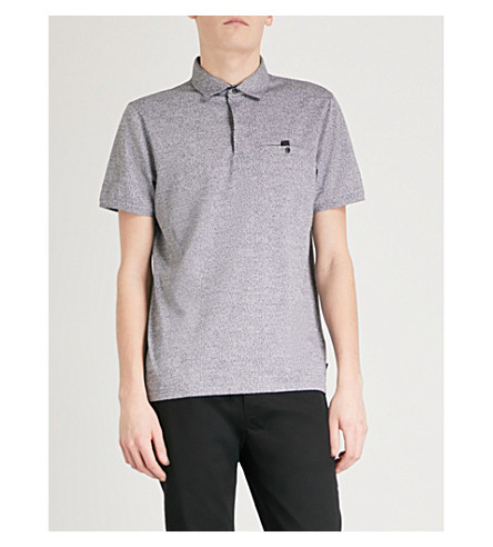 TED BAKER Bary marl-pattern cotton polo shirt (Black