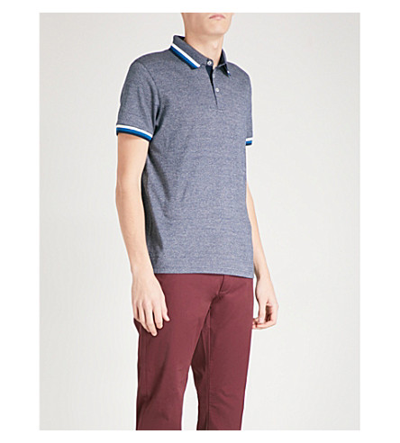 TED BAKER Bates cotton-mouliné polo shirt (Navy
