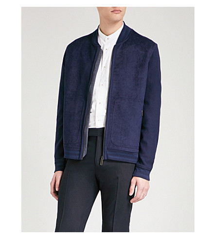 TED BAKER Striped-trim cotton and woven bomber jacket (Navy