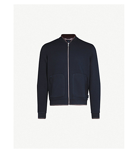 TED BAKER Striped-trim textured bomber jacket (Navy