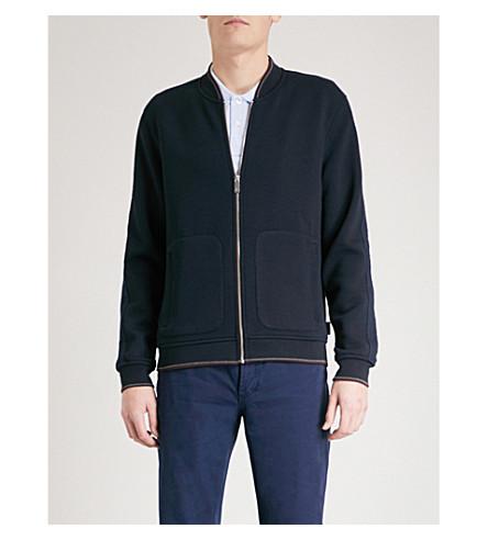 TED BAKER Striped-trim textured bomber jacket (Navy