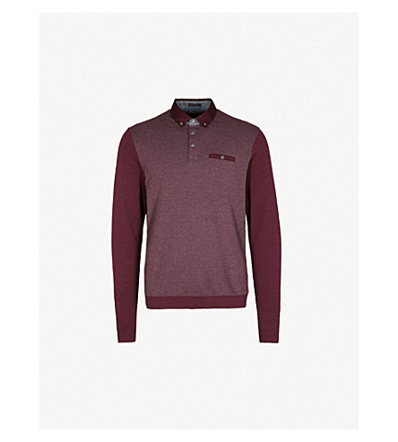 TED BAKER Textured cotton-blend polo shirt (Dark+red
