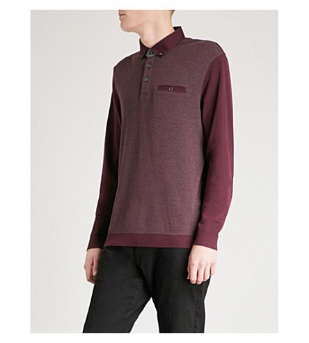 TED BAKER 质感棉混纺 Polo 衫 (深色 + 红色